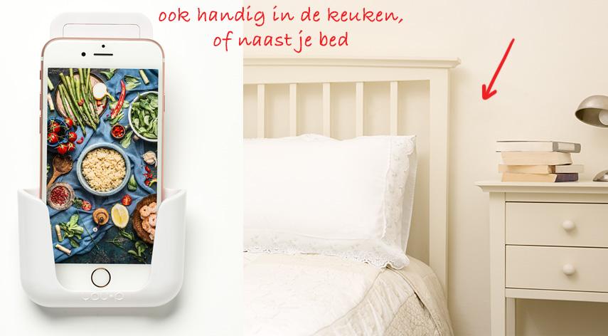 YOU-P telefoonhouder naast je bed of in de keuken