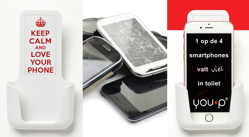 Wat is een YOU·P? smartphonegebruik telefoonhouder smartphone toilet wc you-p
