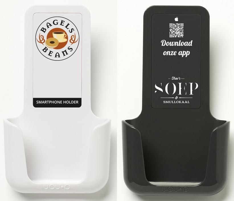 Voorbeeld YOU·P klepjes - uw logo hier - telefoonhouder wc toilet